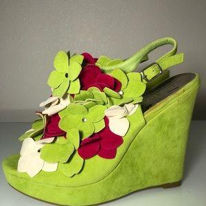 Liliana wedged heels like green floral women's 10